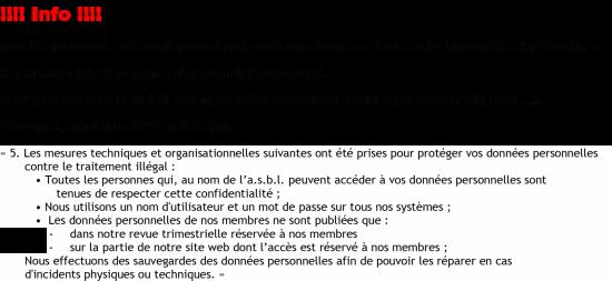 Info pour le site suite confidentialite