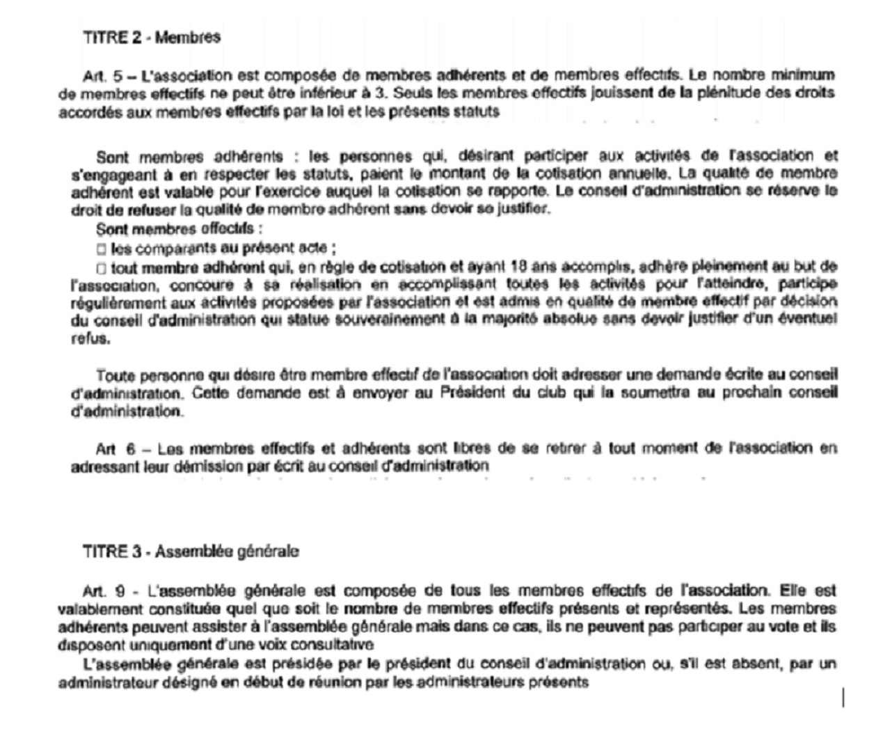 Statuts membres effectifs adherents